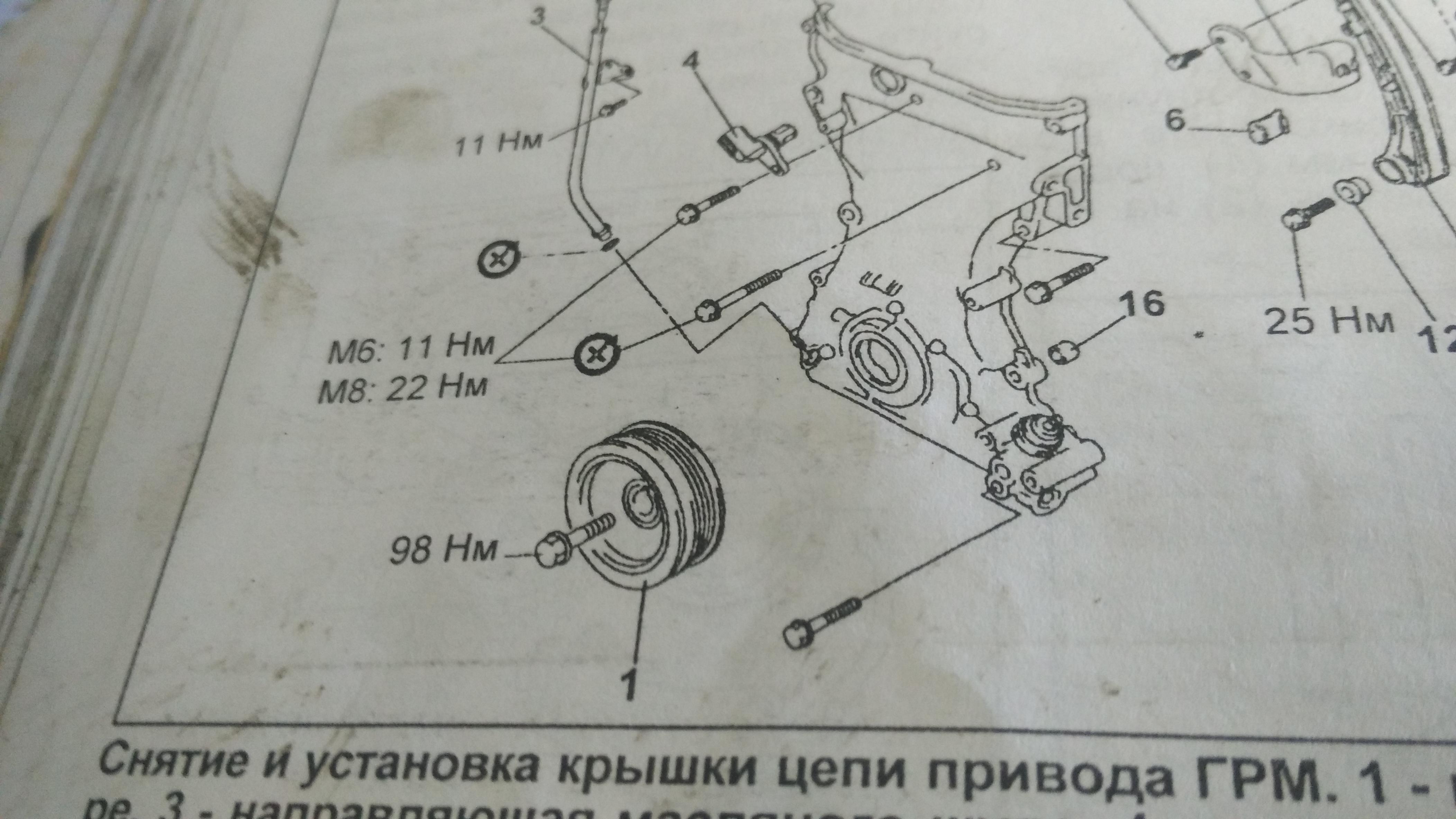 момент затяжки шкива коленвала Jimny k6a